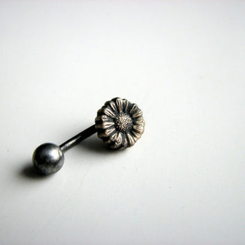 Sunflower jewelry belly button ring by AnnaSiivonen on Etsy