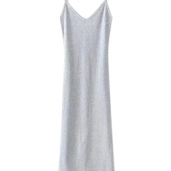 Light Gray V-neck Strappy Side Split Knit Midi Dress