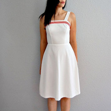 white STRIPES sun dress / 1970s strappy TENNIS by vintagemarmalade