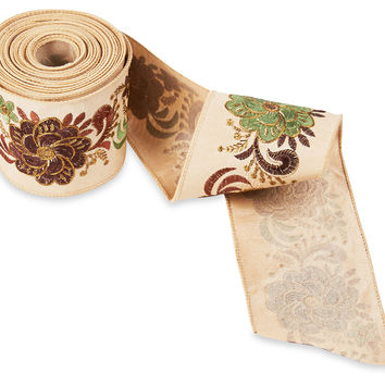 "10Y of 4"" Flower Embroidered Ribbon, Ribbon & Twine"