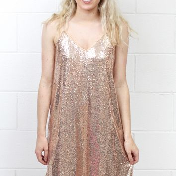 Spaghetti Strap Sequin Glitz Dress {Rose Gold}