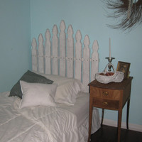 Shabby King Chic Style White Distressed Headboard Wood Picket Fence Size Bed