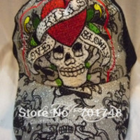 Vogue ed hardy hat cap Love Kills Slowly Skull Face red heart embroidered rhinestone for men women edhardy