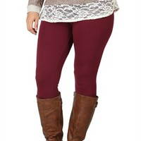 Plus Size Basic Color Leggings