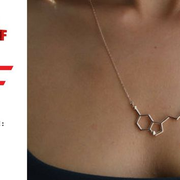 Serotonin (happy) molecule Necklace