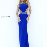 Sherri Hill Jersey Cut Out Prom Gown 32140