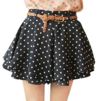 High Waist Polka Dot Print Shorts