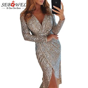 SEBOWEL Sexy Sequin Party Dress Women Gold Silver Glitter Club Dress Long Maxi Shine Evening Gown Female Wrapped Ruched Dress