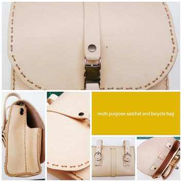 bicycle leather satchel handmade tan multi use