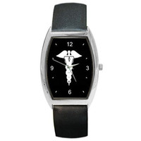 Veterinary Caduseus on a Barrel Watch with Leather Band