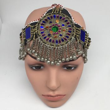 Kuchi Headdress Headpiece Afghan Ethnic Tribal Jingle Alpaca Bells Glass,CK651