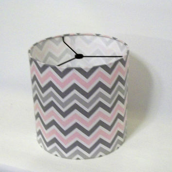 "Drum Lamp Shade in pink and grey chevron print / 12""x10"" lampshade"