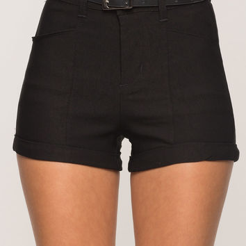 Night Out Twill Belted Shorts