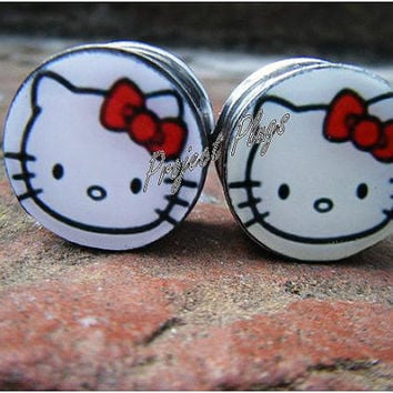 Hello Kitty Plugs, - 2g, 0g, 00g, 7/16, 1/2