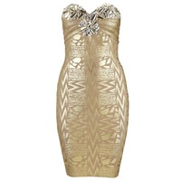 Aliexpress.com : Buy Free Shipping 2013 New Fashion Women Party Trending Sexy Bra Beaded Gold Foil Bandage Dress  from Reliable Bandage Dress suppliers on Online Store 419525