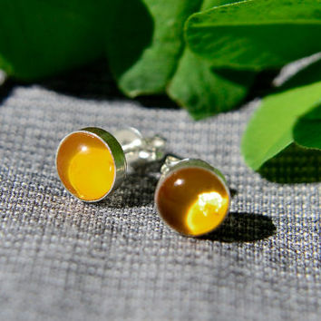 Amber Earrings, Silver Post Earrings with Amber Cabochon, Amber Stud Earrings in Sterling Silver, Free Shipping