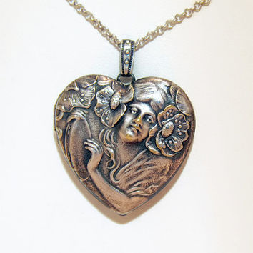 Antique Art Nouveau Sterling Silver Locket, High Relief Lady with Flowing Hair and Poppies, Heart Shaped, c. 1900s