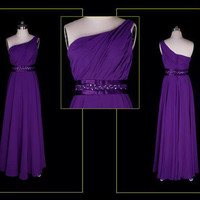 One shoulder sleeveless floor length purple chiffon with sashes beading prom gowns/evening dress cocktail dress/wedding dress