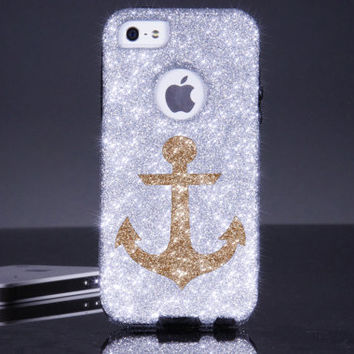iPhone 5 Otterbox Case iPhone 5s Case Glitter Silver/Gold Anchor iPhone Otterbox Commuter Cover Sparkly Glitter Anchor