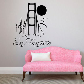 San Francisco Wall Decals Landscape Stickers City Skyline Home Interior Design Art Mural Vinyl Decal Sticker Living Room Bedroom Decor kk824