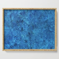 Turquoise blue swirls doodles Serving Tray by savousepate