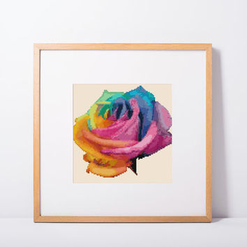 "Cross stitch pattern ""Rose"" Instant Download PdF Pattern, Cross Stitch Chart, Embroidery Needlework,bogo"