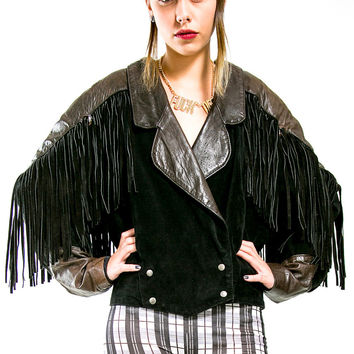 Vintage Black Leather Fringed Jacket