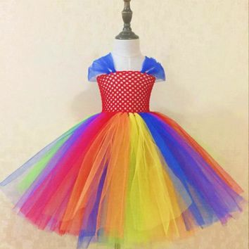 Rainbow Color Girls Crochet Tutu Dress Kids 2Layers Ball Gown Tulle Dresses with Daisy Headband Children Costume Party Tutus