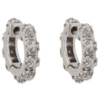 Diamond & White Gold Pyramid Huggie Hoop Earrings