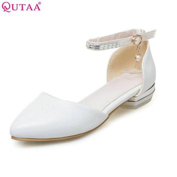 QUTAA 2017 Women Pumps Square Low Heel PU leather Pointed Toe String Bead Blue Ankle Strap Ladies Wedding Shoes Size 34-43