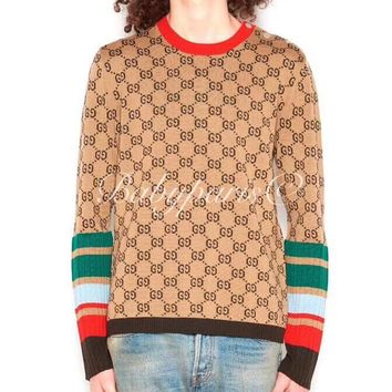 GUCCI Popular Women Casual Letter Stripe Round Collar Sweater Sweatshirt I11920-1