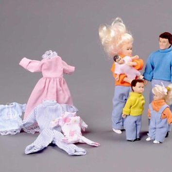Miniature 5-Pc. Doll Family with Extra Clothes sold at Miniatures