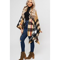 Stand Still Plaid Poncho (Taupe)