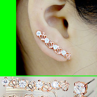 Crown and Jewel Long Clip Ear Pin Asymmetric Set (2 pieces)