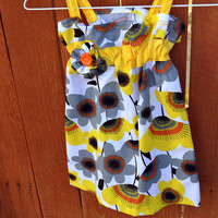 Girls dress size 3 toddler, summer dress, girl clothes, dresses, sundress, summer clothing in yellow and grey retro flower print