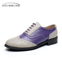 Genuine leather big woman US size 10 designer vintage flats shoes round toe handmade grey purple oxford shoes for women with fur