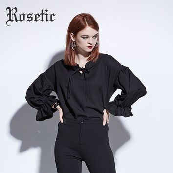 Blouse Loose Lace Up Lantern Sleeve Black Casual Shirt Goth Fashion Short Tops School Gothics Blouse
