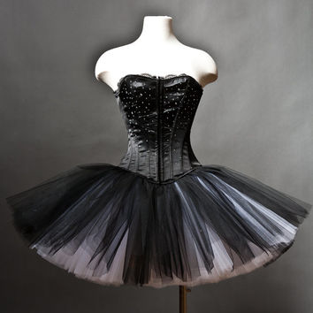 Custom Size Black and White rhinestone tulle Burlesque Corset Prom Dress