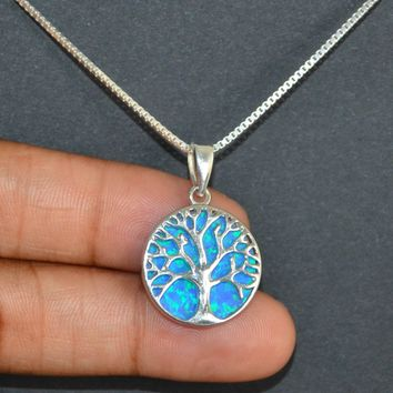 Opal Tree Of Life Necklace, Sterling Silver Tree Of Life Necklace, Tree Of Life Charm Pendant,  Blue Opal Jewelry, Minimalist Gift For Mom