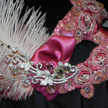 Lace Masquerade Mask in Dusty Rose, Blush and Silver