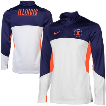 Nike Illinois Fighting Illini Shootaround Quarter Zip Long Sleeve Performance T-Shirt - Navy Blue/White
