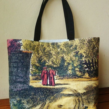 "Tote bag canvas, printed picture,  engraving ""Vetuta di Montoliveto"", beautiful partial  copy, part 1, hand made in France"
