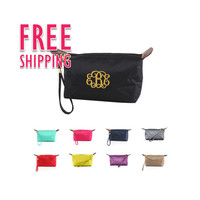 Monogrammed Bridesmaids Solid Color Cosmetic Wristlet Bundles Sold In Sets of 10, 11, 12, 13 Discounted 15%, Free Monogramming, and Shipping