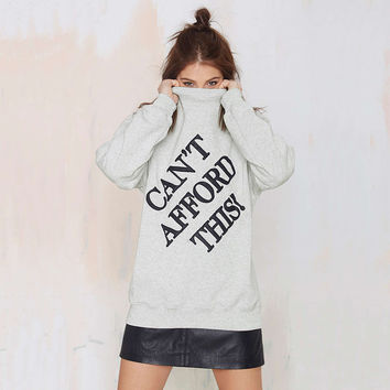 Casual Letter Printed Long Sleeve Sweater