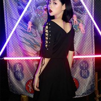 2018 Summer New Arrival Punk Lolita Harajuku Gothic Vintage Sexy Club Off Shoulder Bandage Hollow Out V-Neck Black Dress
