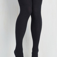 All in Alcove Thigh Highs in Navy Size OS by ModCloth