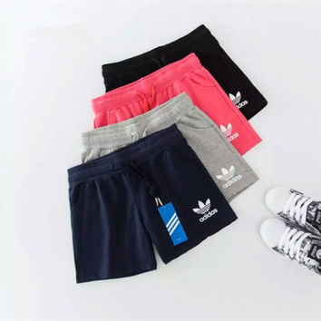 """""""Adidas"""" Fashion Casual Simple Female Student Solid Color Letter Print Cotton Shorts Sweatpants Hot Pants"""