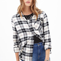 FOREVER 21 Plaid Flannel Shirt Cream/Black