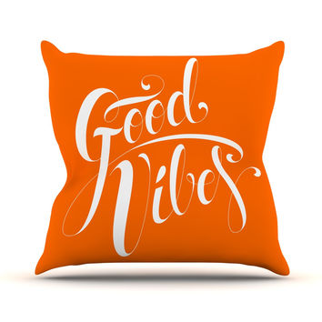 "Roberlan ""Good Vibes"" White Orange Throw Pillow"