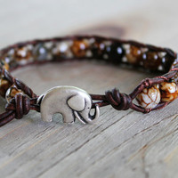 Elephant Bracelet - Leather Beaded Wrap - Boho Beach Jewelry - Elephant Jewelry - Bohemian Jewelry - Agate Gemstones